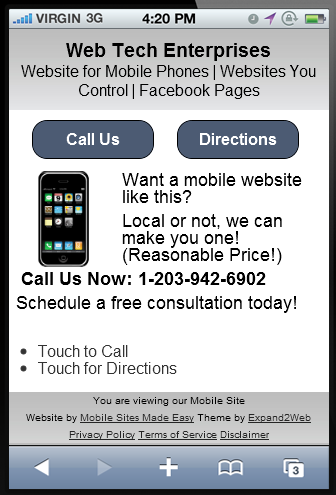easy mobile website design by web tech enterprises