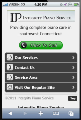 Mobile Website for Integrity Piano